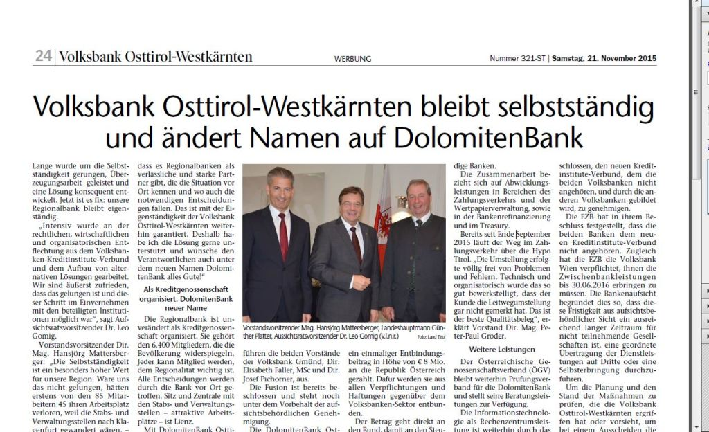 Dolomitenbank TTZ