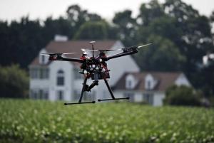 Drone over farmland